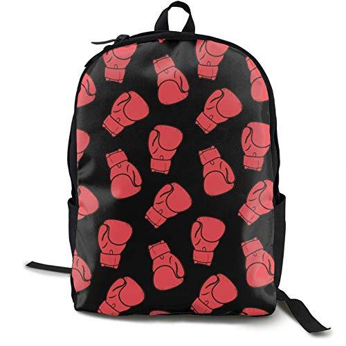 Herrenrucksack Mehrzweck-Laptop-Rucksack Stilvolle Red Buffalo Plaid Bookbag für Sport im Freien Laufen Reisen Langlebiger Rucksack Rote Boxhandschuhe Muster Schwarz