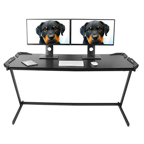 Wakects Mesa para Juegos Escritorio,Mesa Gaming para Ordenador PC,Mesa Gaming Ergonómica con Led RGB, para Hogar Oficina 150 x 60 x 77cm