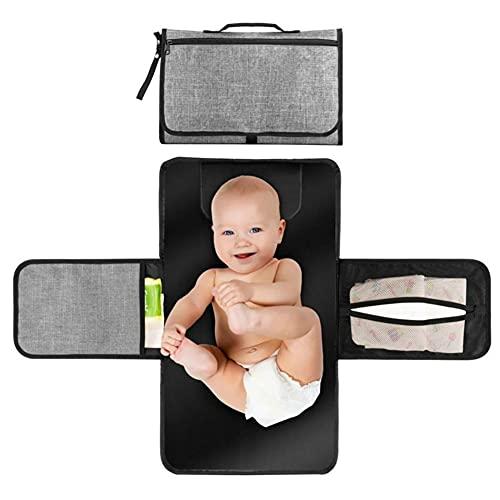 Cambiador portátil para bebé con cojín acolchado para la cabeza, cambiador de pañales portátil, plegable, impermeable, para bebé, pañales, bolsa y embrague con bolsillos, New Born Essentials (gris)