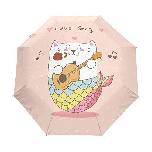 Meerjungfrau Katze Gitarre Liebeslied Regenschirm Taschenschirm Auf-Zu Automatik Schirme Winddicht Leicht Kompakt UV-Schutz Reise Schirm für Jungen Mädchen Strand Frauen