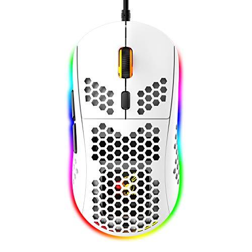 RGB Bienenwabe Leicht Gaming-Maus, 6 Programmierbare Tasten, 6 RGB-Hintergrundbeleuchtungsmodi und 6400 DPI Einstellbar, USB-Kabel, Plug & Play, Kompatibel mit Windows, Mac, Laptop, PS4, Xbox Weiß
