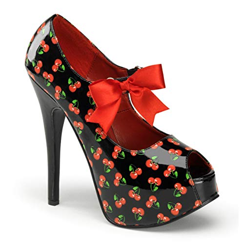 Pin Up Couture TEEZE-25-3 Blk Pat (Cherries Print) UK 5 (EU 38)