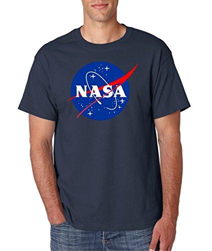 Gildan NASA Meatball Logo White, Blue or Gray T-Shirts (Medium, Navy)