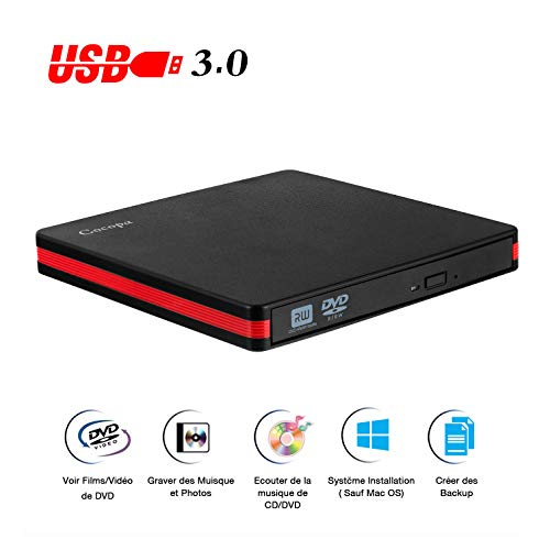 Lecteur DVD Externe, Cocopa USB 3.0 Graveur CD DVD Externe Enregistreur Portable DVD CD Rom +/-RW Mince Player Transmission Rapide Câble USB Intégrée Win7 10 Mac Os Apple iMac Macbook Laptop PC
