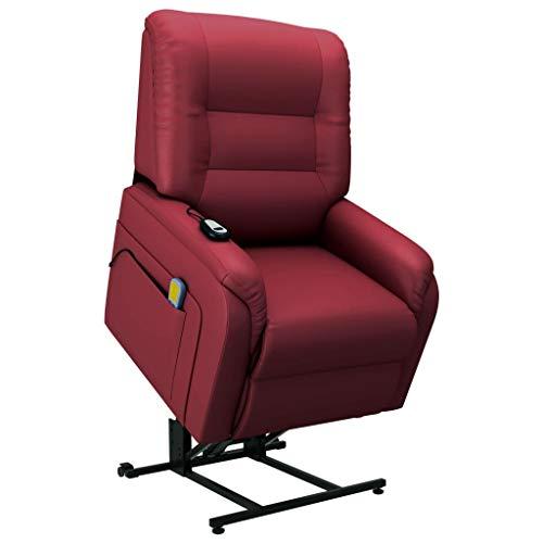 vidaXL Fernsehsessel Elektrisch mit Aufstehhilfe Taillenheizfunktion Massagesessel Aufstehsessel Relaxsessel TV Sessel Weinrot Kunstleder