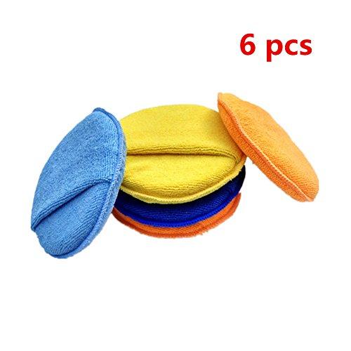 Preisvergleich Produktbild Happyit 6 Pcs Microfaser Auto Wachsen / Polieren Schwamm Reinigung Pad für Fahrzeug Glas Reinigung Anti-Kratzer