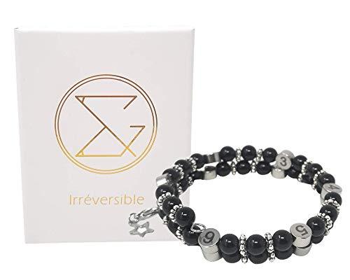 Pulsera de lactancia en perlas naturales obsidiana negra - Joyería de diseño francés - Reloj de alimentación para la futura madre - Regalo de nacimiento para embarazadas