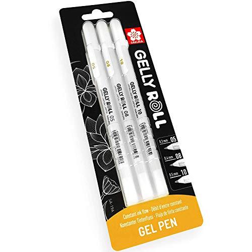 Sakura 05/08/10 Gel Pen - Bright White Ink - Blister Pack of 3