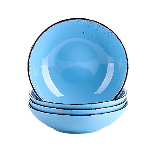 vancasso Serie Navia Oceano Platos Hondos 4 Piezas Juego de Platos de Sopa, Ensalada, Fruta, Vajillas Esmaltada Gres Aqua Blue Vajillas Retro