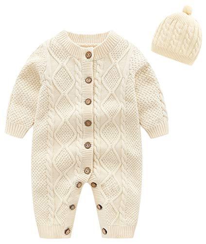 EOZY Strickoverall Baby Jungen Mädchen Herbst Winter Pullover Overall mit Mütze Beige Größe 80