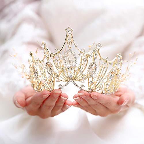 Unicra Hochzeit Kronen und Diademe Kostüm Strass Gold Flower Queen Crown Bridal für Frauen und Mädchen