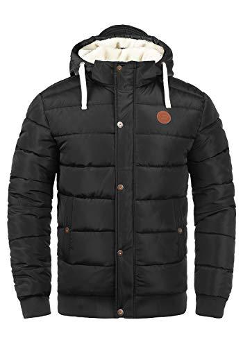 Blend Frederico Herren Winter Jacke Steppjacke Winterjacke gefüttert mit Kapuze und Teddy-Futter, Größe:XL, Farbe:Black (70155)