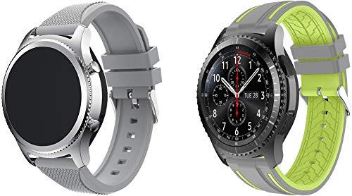 Simpleas Correa de Reloj Compatible con Galaxy Watch 46mm / Watch 3 45mm / Gear Live, Silicona Correa Reloj con Acero Inoxidable Hebilla desplegable (22mm, Gris + Gris y Lima)
