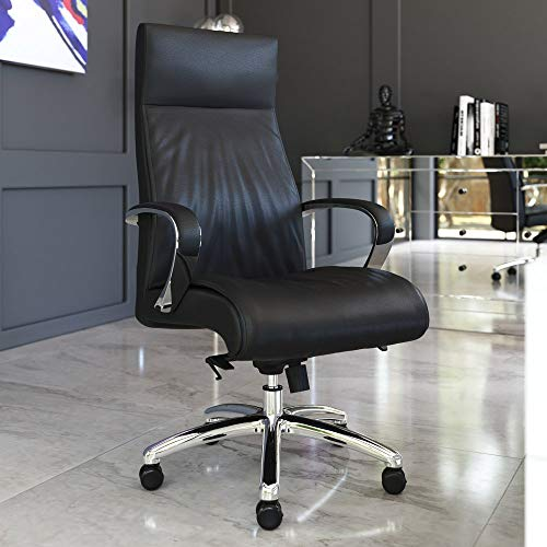 Zuri Furniture Modern Forbes Genuine Leather Aluminum Base High Back Executive Chair - Black