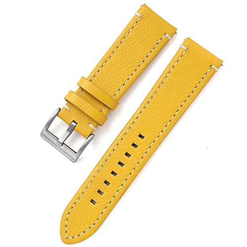 SSMDYLYM Cuero de Doble Cara 18 mm 20 mm 22 mm 24 mm Correa de Reloj Correa de Reloj de liberación rápida Hombres Mujeres Amarillo Rojo Negro Accesorios de Reloj (Color : Yellow, Size : 20mm)