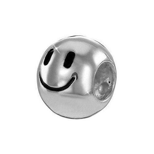 MATERIA 925 Silber Beads Kugel Smiley - Bead Element hochglanz für Beads Armband/Kette bis 4,4mm #761