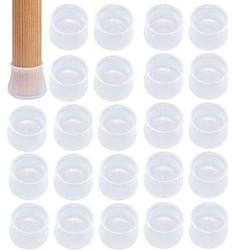 BEIFON 24 Stück Möbelbeinschutzhülle Tischfuß Bodenschutz Silikon Antislip Verhindern und Scratch Pad Stumm Bodenschutz rutschfeste Tisch Stuhlbeinkappen (Transparenten/Rosa/Grau)