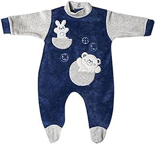 papillon Bodysuit velvet embroidered bear for boys-newborn-blue