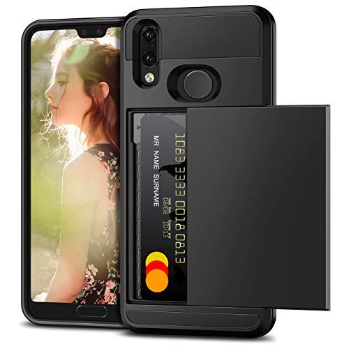 Vunake Funda para Huawei P20 Lite, con tarjetero y doble capa de protección, de silicona TPU y policarbonato, protección contra caídas, funda para Huawei P20 Lite, color negro