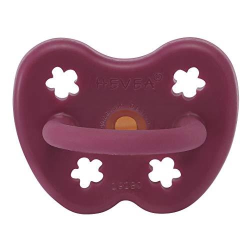 HEVEA farbiger Naturkautschuk Schnuller mit natürlichen Farbstoffen, umweltfreundlich, BPA-frei & für den Kontakt mit Lebensmitteln zugelassen (Ruby Red, 3-36 Monate kiefergerechte Saugerform)