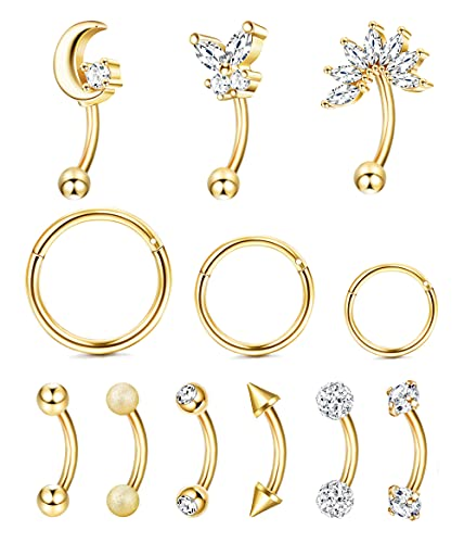 Ubjuliwa 12 anillos de cejas de acero inoxidable 16 g, piercing para el ombligo, para cartílago, aretes de aro para tragus, circonita cúbica