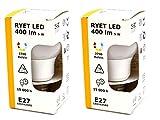Ikea Ryet - Juego de 2 bombillas LED (mate, encendido inmediato, 400 lm, E27, redondas, 15000 h)