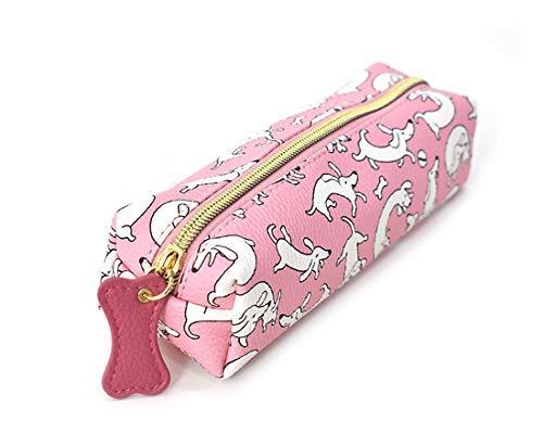 Charming Charlie Pennfodral med hundtryck – fack med dragkedja, multifunktionsfodral – medium, rosa