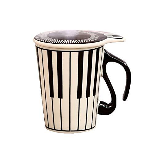 Taza de cerámica con diseño de pareja con diseño de música de cerámica creativa, taza de música musical, taza de agua, par de teclados, taza de café