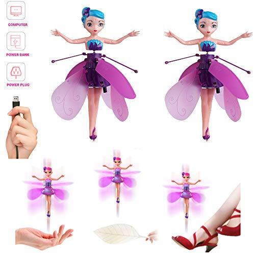Lz Flying Fairy Doll, Hermoso pequeño avión de inducción de suspensión de Hadas voladoras, USB Recargable Flying Fairy Toy Helicóptero de Hadas controlado a Mano (púrpura)