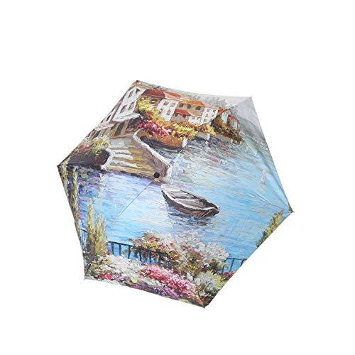 DZNOY Ombrello Pieghevole ombrellone Tre Volte Anti-Ultraviolet Ink Painting Ultra-Light Sunscreen Rain e Sun Dual Uso Ombrello (Color : Beauty of Lakeside)