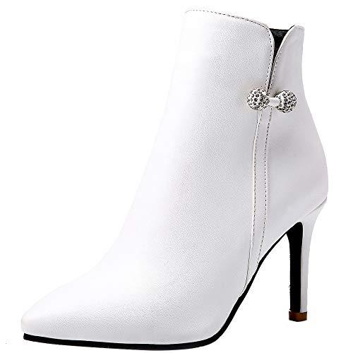 Mediffen Damen Pointed Toe Elegant Stiletto Stiefeletten Weiß Gr 39 Asiatisch