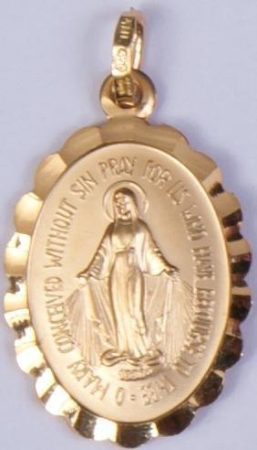 Medalla de Oro de Nuestros Señora. 9 ct oro Milagrosa medalla. La medalla de el Madonna
