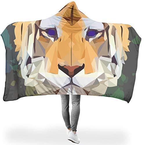 Charzee Polygon Tiger PersonalityWearable Tapisserie Hooded Throw Wrap Kunstwerk Ultra Weich Und...