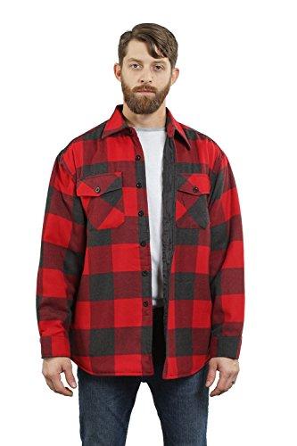 Yago Herrenhemd, gestepptes Futter, Knopfleiste, Flanell, mit Seitentaschen -  Rot -  Klein
