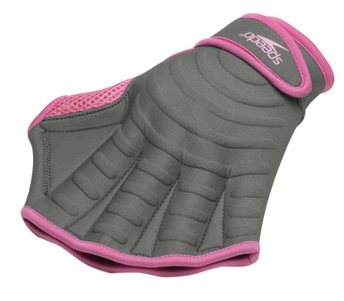 Speedo Hydro Resistance Swim Glove (X-Large, Charcoal/Pink)