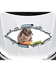 3D autosticker dieren motorkap haas wortelen konijntje doorbraak auto venster auto sticker sticker sticker 21C085, afmetingen B x H: 44 x 21 cm