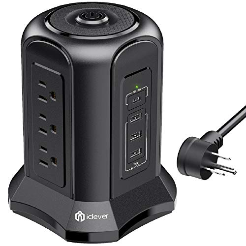Power Strip Tower Surge Protector with USB C Port (18W), 3 USB A Charging Ports (15.5W) & 9 AC...