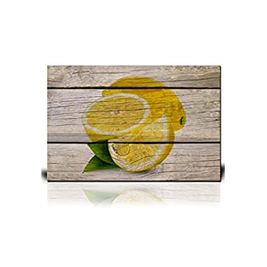 wall26 Canvas Wall Art - Yellow Lemon on Wooden Background - Giclee Print Gallery Wrap Modern Home Decor Ready to Hang - 12  x 18