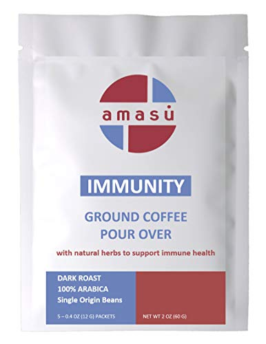 Amasu Ground Nicaraguan Coffee with Natural Herbs Immune Support Pour Over (5 pack)