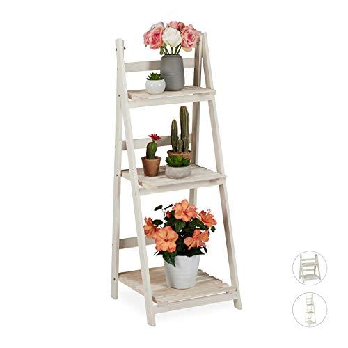 Relaxdays Blumentreppe, für innen & Balkon, Shabby-Chic Design, freistehend & klappbar, HBT 108x41x40 cm, 3 Stufen, weiß