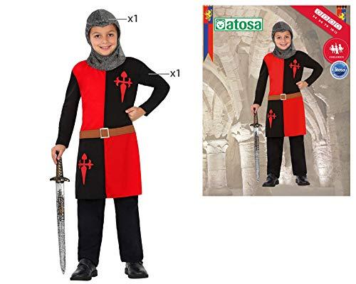 Atosa 23456 – Ritter Junge Kostüm, Größe 104, schwarz/rot - 2