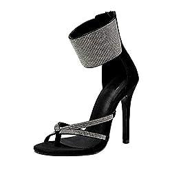 Black-A Stiletto High Heel Sandal With Rhinestone & Open Toe