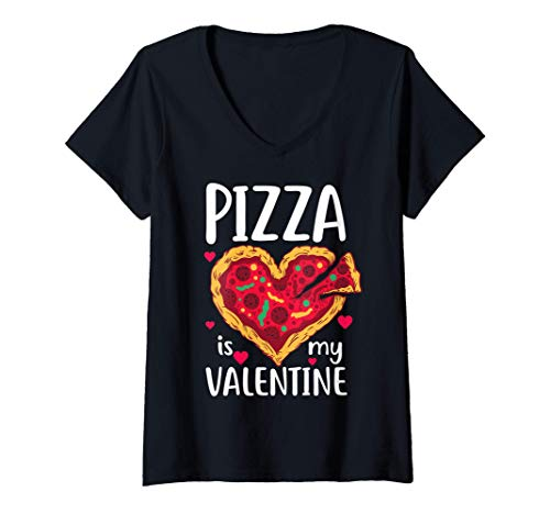 Donna Pizza Is My Valentine Funny Valentines Day Gift Him Her Maglietta con Collo a V