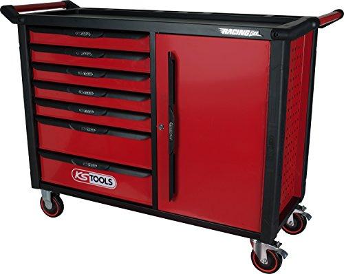 KS Tools 827.0007 RACINGline SCHWARZ/ROT Werkstattwagen XL mit 7 Schubladen und 1 Tür