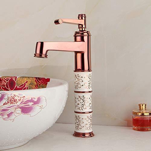 YHSGY Waschtischarmaturen Bad Wasserhahn Warmes Und Kaltes Wasser Waschtischmischbatterie Messing Waschbecken Wasserkran Roségold