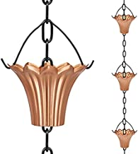 UMORNING Rain Chain 8.4 Ft Decorative Downspout Extension Lotus Shaped Rain Catcher System for Gutters 10 Cups to Collect Rainwater