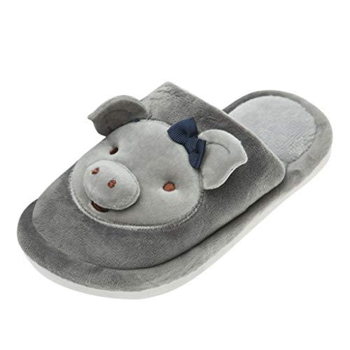 Kriosey Winter Baumwolle Pantoffeln Plüsch Wärme Weiche Hausschuhe Kuschelige Home rutschfeste Slippers mit Schwein Cartoon für Herren Damen Kind Weiche Komfortable rutschfest, Barfuß-Gefühl