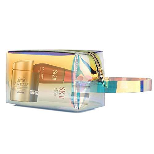 FRF Trousse de Toilette- Sac cosmétique holographique Transparent de Mode féminine Sac de Rangement portatif de Grande capacité (Color : Rainbow, Size : 17.5x8x11cm)
