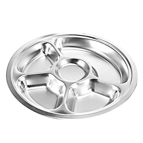 Runder, geteilter Speiseteller aus Edelstahl, BPA-frei Kinderteller Serviertablett Speisen Servierplatte für Kinder Kleinkinder, edelstahl, silber, 5-sections