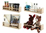 TQVAI Floating Shelves Wall Mounted Set of 4 Wooden Wall Shelf for Bedroom, Living Room, Bathroom, Kitchen, Office, Burlywood